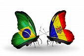 Two Butterflies With Flags On Wings As Symbol Of Relations Brazil And Moldova