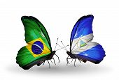 Two Butterflies With Flags On Wings As Symbol Of Relations Brazil And Nicaragua