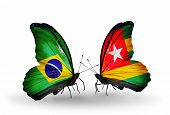 Two Butterflies With Flags On Wings As Symbol Of Relations Brazil And Togo