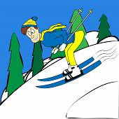Cartoon Skier Traveling At High Speed From The Hill