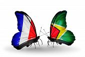 Two Butterflies With Flags On Wings As Symbol Of Relations France And Guyana