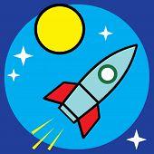 Vector space sci-fi retro rocket illustration