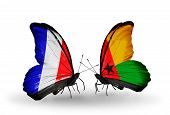 Two Butterflies With Flags On Wings As Symbol Of Relations France And Guinea Bissau