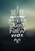 Merry Christmas and Happy New Year design. Blurry vector background. Eps 10