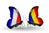 Two Butterflies With Flags On Wings As Symbol Of Relations France And Chad, Romania