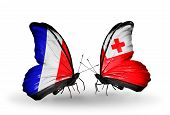 Two Butterflies With Flags On Wings As Symbol Of Relations France And Tonga
