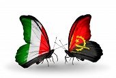 Two Butterflies With Flags On Wings As Symbol Of Relations Italy And Angola