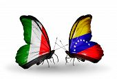 Two Butterflies With Flags On Wings As Symbol Of Relations Italy And Venezuela