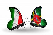 Two Butterflies With Flags On Wings As Symbol Of Relations Italy And Dominica