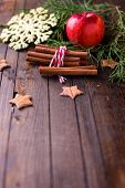 foto of cinnamon  - Decorative christmas composition  - JPG