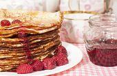Pancakes With Raspberry Jam.