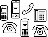 Telephones, mobile phones - Vector illustration