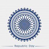 stock photo of ashoka  - Beautiful floral decorated blue Ashoka Wheel on grey background for Indian Republic Day celebration - JPG