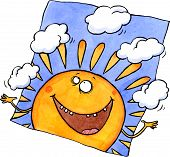 Smiling sun juggling clouds