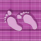 Pink Feet With Shadow On Gingham Background