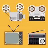 Flat design retro objects with a film projector, tape recorder, TV and radio