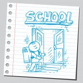 Schoolkid entering school ( back to school concept)