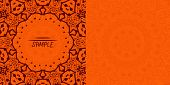 Henna orange antique banner template. Mehndi inspired tribal invitation card design. A lot of copysp