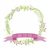invitation card with round floral border