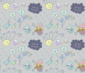 Seamless pattern with cartoon insects