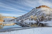 image of horsetooth reservoir  - Horsetooth Reservoir near Fort Collins in northern Colorado in early winter scenery - JPG