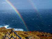 picture of spears  - Double Rainbow across rough ocean near Cape Spear - JPG