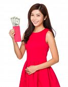 Woman open with USD pocket money