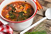 foto of kale  - Fresh Kale and Bean soup with carrots vegan soup - JPG