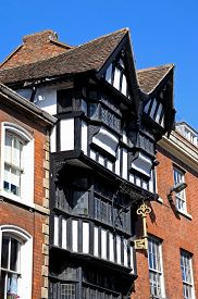 stock photo of nod  - The House of the Golden Key also knows as the House of Nodding Gables along High Street Tewkesbury Gloucestershire England UK Western Europe - JPG