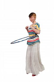 picture of hulahoop  - Young beautiful woman with a hula hoop - JPG