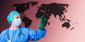 image of syphilis  - female medical doctor background is a world map - JPG