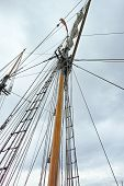 image of tall ship  - mast of a tall ship in the gulf of la spezia - JPG