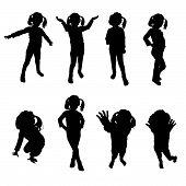 stock photo of kiddie  - kids silhouette black art vector on white - JPG