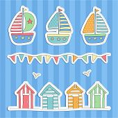 stock photo of beach hut  - Hand Drawn Beach huts - JPG