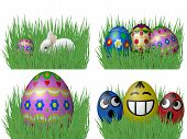 stock photo of laying eggs  - Set of easter eggs laying on grass - JPG