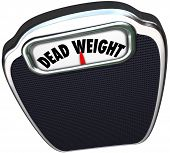 image of disadvantage  - Dead Weight words on a scale to illustrate a useless - JPG