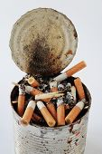 foto of butts  - Cigarette butts in the ashtray bank on the table - JPG
