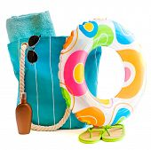 picture of suntanning  - bag with beach accessories isolated on a white background - JPG