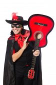 picture of zorro  - Young man in carnival coat  with guitar isolated on white - JPG