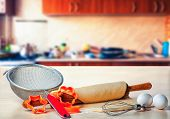 picture of food preparation tools equipment  - kitchen tools for cooking in the background home cooking - JPG