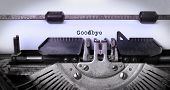 stock photo of goodbye  - Vintage inscription made by old typewriter goodbye - JPG