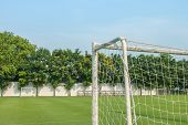 picture of football pitch  - Goal corner of football or soccer with football pitch - JPG