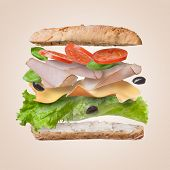 stock photo of tomato sandwich  - Sandwich with falling ingredients in the air  - JPG