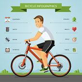 foto of cartoons  - Bicycle infographics concept with smiling cartoon man riding on a bike with set of flat icons about bicycling - JPG