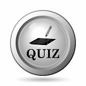 stock photo of quiz  - Quiz icon round silver Internet button on white background - JPG