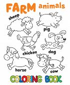 stock photo of sheep-dog  - Coloring book with funny farm baby animals - JPG