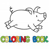 stock photo of porpoise  - Coloring book of little funny little pig or piglet - JPG