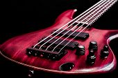 stock photo of low-necked  - Bass guitar body view  - JPG