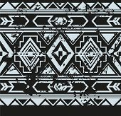 picture of indian  - Vector ethnic seamless pattern with american indian traditional ornament in black and white colors - JPG