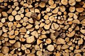 picture of firewood  - Stacked dry brown firewood nature abstract background - JPG